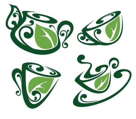 organic drinks: cups and tea pots full of organic drinks