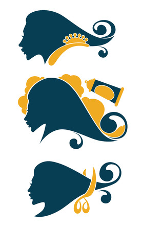 hairstylist: vector collection of woman beauty symbol