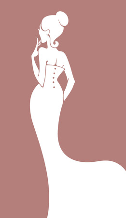 evening dresses: vector greeting card