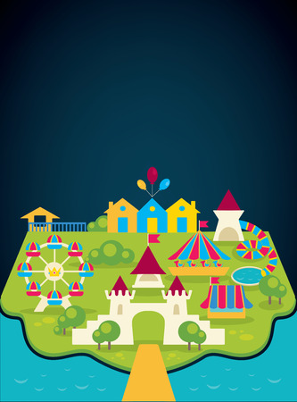 amusement park rides: vector background with image of amusement park and place for your text