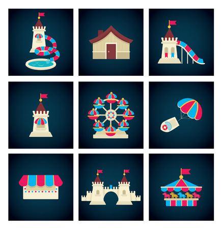 rollercoaster: vector collection of icons and symbols Illustration