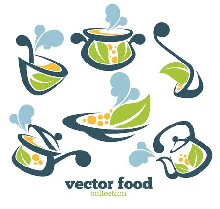 steam of a leaf: vector food collection Illustration