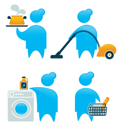 vector housework icons