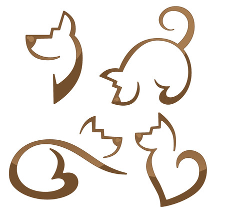 dog outline: vector collection of animals symbols