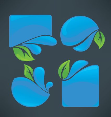 aqua icon: vector collection of water stickers and green leaves symbols on dark background Illustration