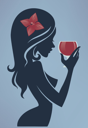 woman drinking wine: vector commercial background with girl and glass of red wine