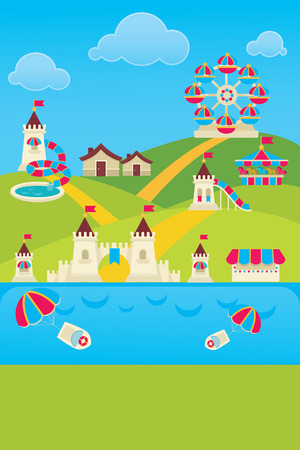 vector background with image of  amusement park  Vector
