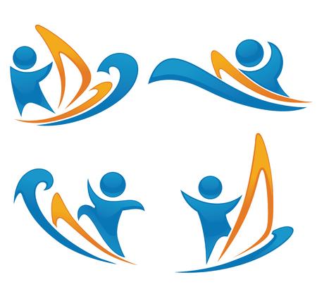 windsurf: colección de vectores de las actividades de verano símbolos y emblemas