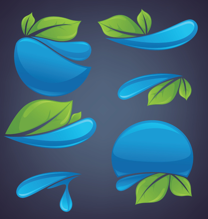 aqua icon: vector collection of styckers and emblems Illustration