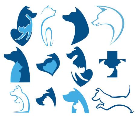 fila di persone: raccolta di simboli animali Vettoriali