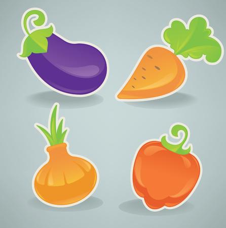 cartoon menu: collection of vegetable images Illustration