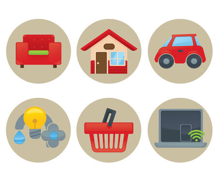 home expenses: icon collections Illustration