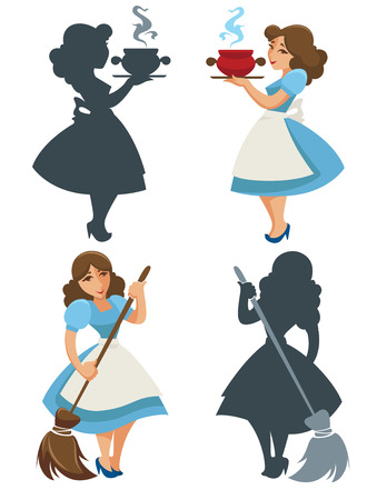 cartoon housewife illustration Vector