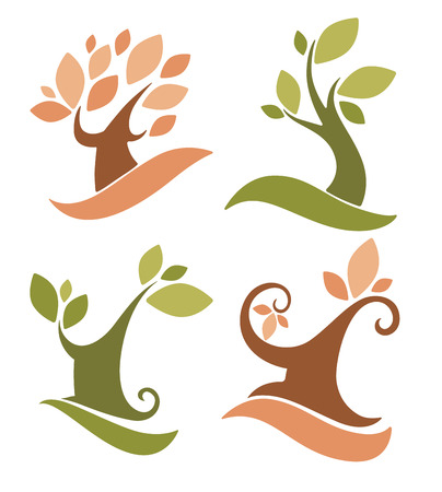 oak tree: set of ecology and nature, signs and icons Illustration