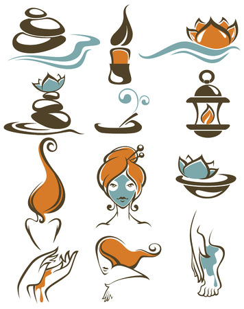 aroma therapy: sign, icons, emblems and symbols