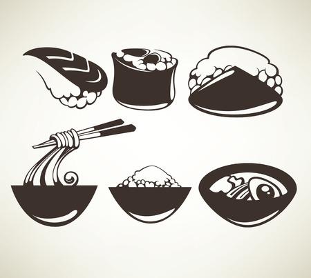 Símbolos de los alimentos de vectores y emblemas Foto de archivo - 29496063