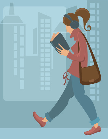 life style people: with image of young woman and city Illustration
