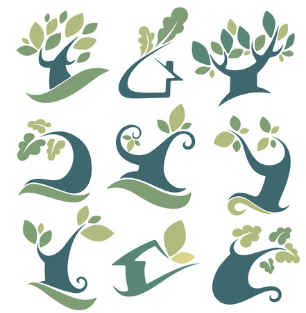 set of tree, landscapes, ecology, nature, house and homes signs and icons Vector