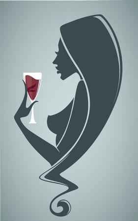antecedentes comerciales con la chica y vaso de vino tinto Vectores