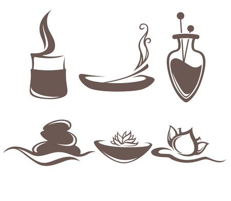 aroma therapy: collection of beauty and spa accessories sign, icons, emblems and symbols