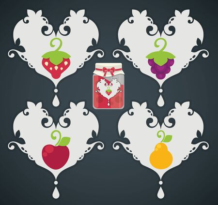 vector collection of fresh stylized fruits and berries Vector
