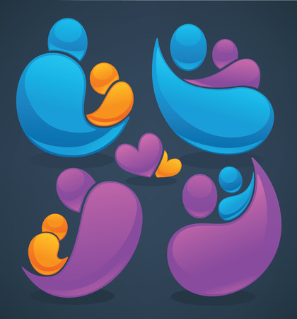 abstract family: vector abstract people