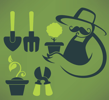 farmer image and vector icons of gardening tools Vector