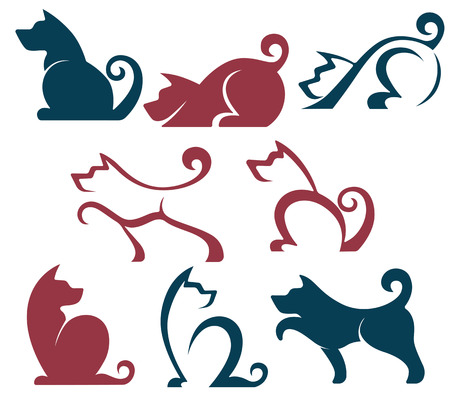 dog ear: vector collection of dogs symbols