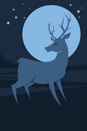 natural background with silhouette of deer  Vector