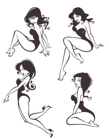 vrouw collectie Stock Illustratie