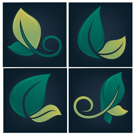 eco notice: collection of glossy leaf forms and symbols on dark background