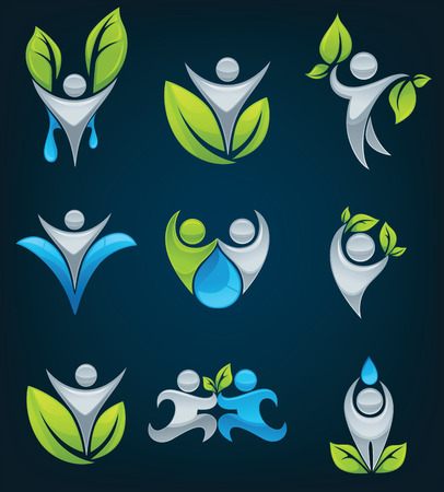 large collection of ecological people Vector