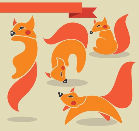fox images and icons in flat style Vector