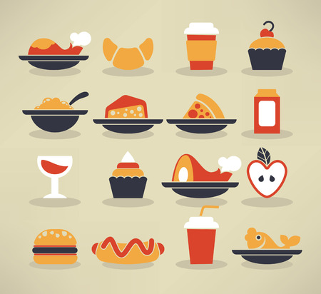 large collection of food images Vector