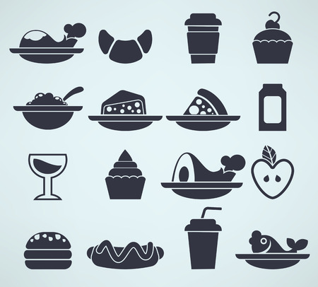 large collection of food silhouettes in info-graphic style Vector
