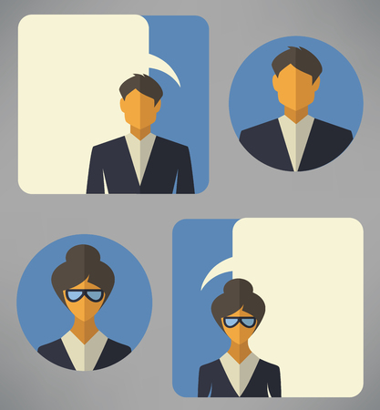 unrecognizable person: vector collection of man and woman business avatars and icons in flat style