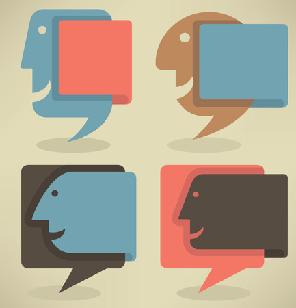 mouth screen: vector collection of different colorful web banners and text boxes look like a human faces Illustration