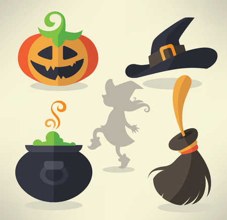 vector collection of Halloween symbols and icons in cartoon style Vector