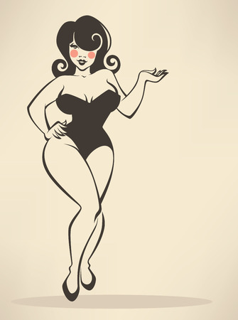 pin up: plus size pin up girl on beige background