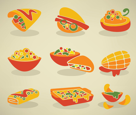 NACHO: vector collection of traditional mexican fast food in flat style Illustration