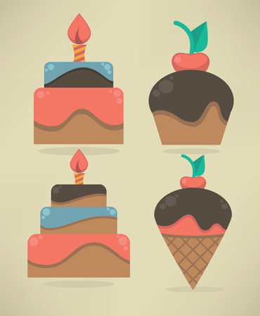 vector collection of cakes and sweets Vector