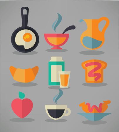 vector verzameling van traditionele ontbijt maaltijd in vlakke stijl