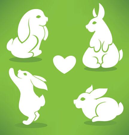lapin silhouette: Lapins de Pâques silhouettes sur fond vert