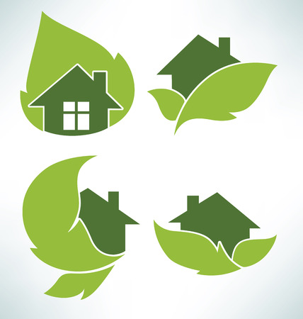 green roof: vector set of ecological signs and icons