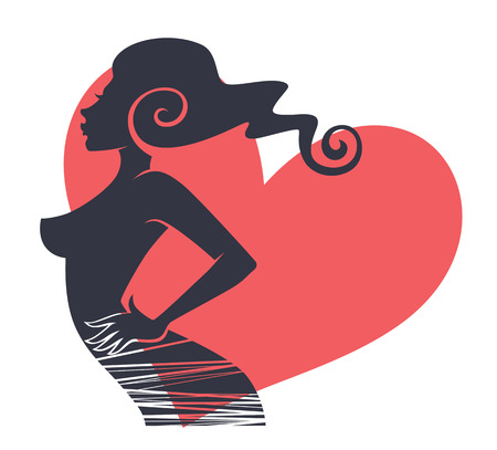 staying in shape: vector card with image of beautiful girl silhouette and pink heart