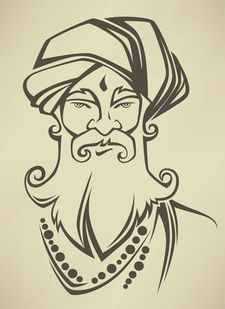 old sikh man portrait Vector