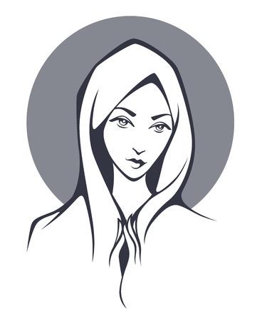 vierge marie: religion femme illustration