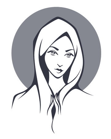 christian people: religion woman illustration