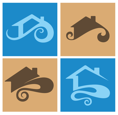 rooftop: vector collection of property symbols and icons