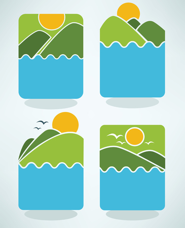 vector collection of lovely cartoon landscape Vector